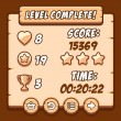 Постер, плакат: Game wood level complete icons buttons