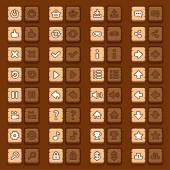 Game menu icons wooden buttons set — Stock Vector