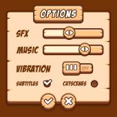 Option menu wooden style game buttons — Stock Vector