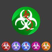 Ebola biohazard flat icon badge — Stock Vector