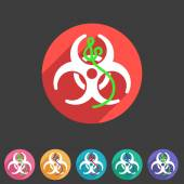 Ebola biohazard flat icon badge — Stock Vector