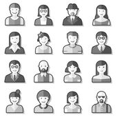 Flat avatar icons faces people — Vector de stock