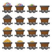 Mine cart set gold sone coins diamonds — Stock Vector