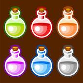 Round cartoon bottles liquids — Stock Vector