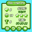 Постер, плакат: Green game level complete icons buttons