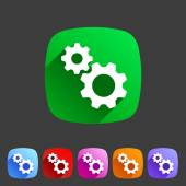 Gear settings flat icon — Vecteur