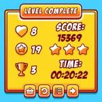 Постер, плакат: Game yellow level complete icons buttons