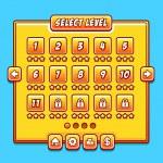 Постер, плакат: Yellow game menu level interface ui panels