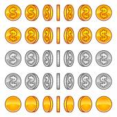 Dollar coins rotation — Stock Vector