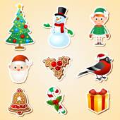Christmas symbol sticker set — Stock Vector