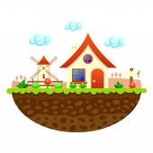 Flat farm landscape illustration with farmhouse — Vector de stock