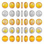 Game coins rotation set — Stock Vector