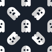 Seamless pattern white ghosts halloween background — Vector de stock