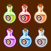 Poison cartoon bottles liquids colors elemetns — Stock Vector
