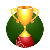 Trophy gold cricket cup on a green background — Wektor stockowy