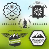 Mountain hiking outdoor symbol emblem label collection — Stock Vector