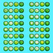 Green game icons buttons icons, interface, ui — Stock Vector