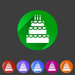 Birthday cake flat icon sign symbol logo label set — Vecteur #75353287