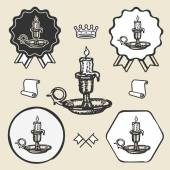 Candle vintage symbol emblem label collection — Stock Vector