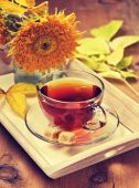 Tea in glass cup — Stock Photo