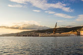 Evening in the docks of trieste — Stock Photo