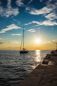 Sail returning to docks in the evening — Stock Photo