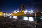War ship in the port of Trieste — Stock Photo