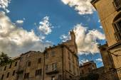 Evening in the center of a medieval village in Italy — Stock Photo