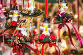 Little snowmans as gifts and decorations for christmas — Stock Photo