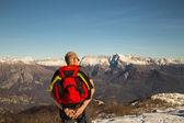 Man admiring the alps — Stock Photo