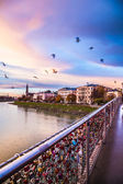 Padlocks of love on a bridge of Salzburg — Foto Stock