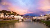 Salzburg with Salzach river — Stock Photo