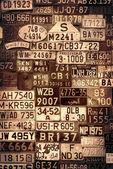 Sepia License Plates — Stock Photo