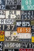 Colorful License Plates vertical — Stock Photo