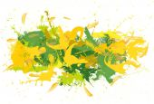 Green and yellow spatters on the white fond. — Stock Photo