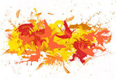 Red and yellow spatters on the white fond. — Stock Photo