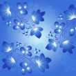 Blue berry pattern in the Gzhel style on the blue gradient background. — Stock Photo #58704993