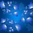Blue berries pattern in the Gzhel style on the blue gradient  background. — Stock Photo #58705329