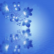 Blue pattern in the Gzhel style with  reflection on the blue gradient  background. — Stock Photo #58705947