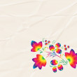 Rainbow  pattern in the style  Khokhloma on the  crumpled paper. — Stock Photo #64900575