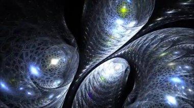 Swirling wheels in fractal space — Stock Video