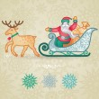 Jolly Santa Claus in a sleigh with a sacks of gift. — Stock Vector #52709559