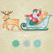 Jolly Santa Claus in a sleigh with a sacks of gift. — Stock Vector