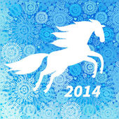 White horse on blue snowflakes background. — Stock Vector