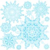 Winter set with snowflakes. — Stock Vector