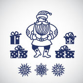 Jolly Santa Claus with a gifts and snowflakes. — Stock Vector