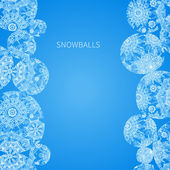 Concept winter frame with snowballs and snowflakes. — Stock Vector