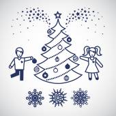 Jolly children with a christmas tree and snowflakes. — Stock Vector
