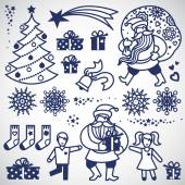 Set of christmas elements. — Stock Vector