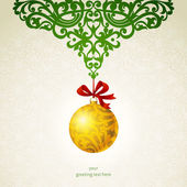 Golden Christmas Ball mit Bändern und grüne Ornamente. — Stockvektor